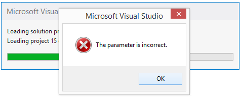 Visual Studio 2013 Project Load Error \u2013 The parameter is incorrect