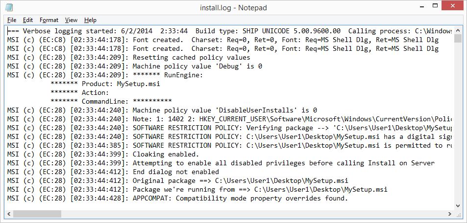 Notepad install.log