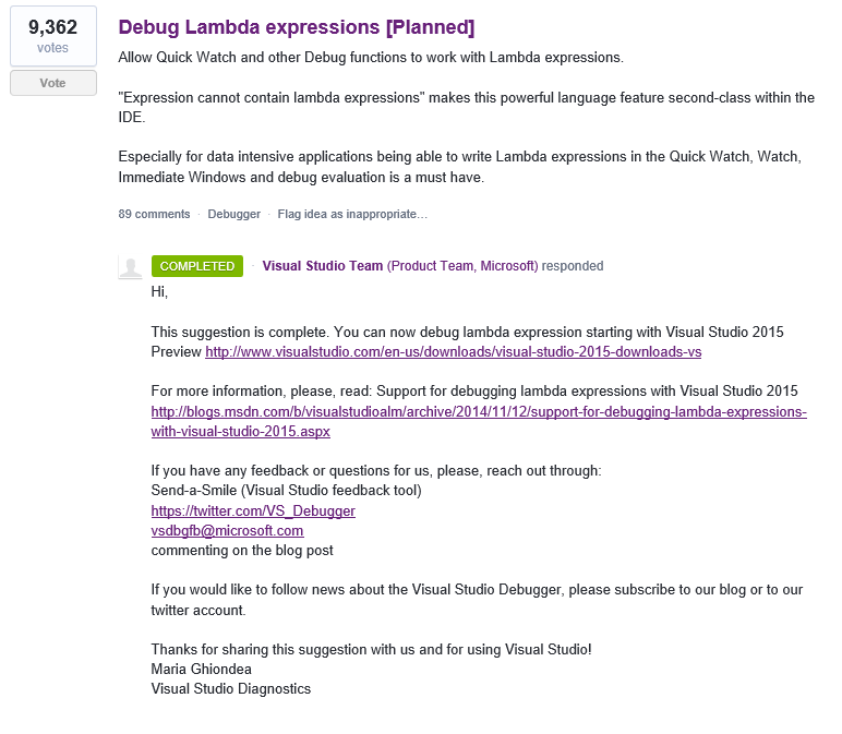 Debug Lambda expressions [UserVoice]