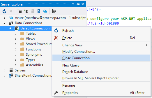 Close Server Explorer Connection