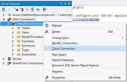 Close Server Explorer Connection